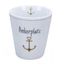 Krasilnikoff Becher Happy Mug ANKERPLATZ mit ANKER in Gold