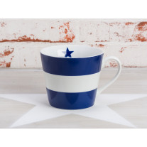 Krasilnikoff Tasse Happy Cup - Blockstreifen dunkelblau