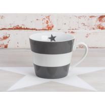 Krasilnikoff Tasse Happy Cup - Blockstreifen dunkelgrau