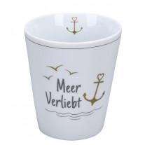 Krasilnikoff Becher Happy Mug MEER VERLIEBT mit ANKER in Gold