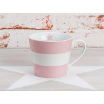 Krasilnikoff Tasse Happy Cup - Blockstreifen rosa