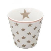 Krasilnikoff Espresso Tasse Sterne weiß / taupe