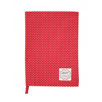 Krasilnikoff Geschirrtuch Micro Punkte rot