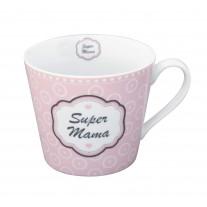 Krasilnikoff Tasse Happy Cup Super Mama rosa