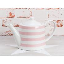 Krasilnikoff Teekanne Streifen rosa