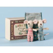 Maileg Baby Maus Zwillinge in Box mit geblümter Decke