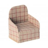 Maileg Sessel in Creme mit rotem Karo-Muster