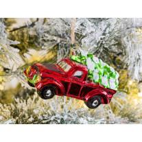 Hänger Pick up mit Tannenbaum Rot glänzend