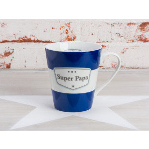 Krasilnikoff Becher Super Papa dunkelblau Happy Mug mit Henkel blau weiß Streifen