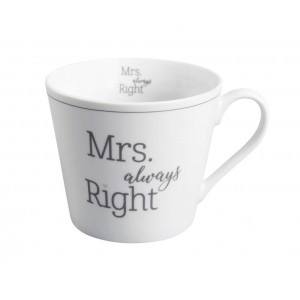 Krasilnikoff Happy Cup Tasse Mrs always Right weiß Porzellan Henkel Becher mit Spruch für 300 ml