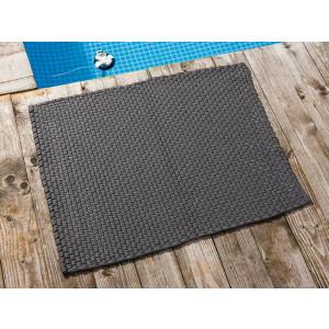 Pad Fussmatte Outdoor Teppich UNI Stone Grau 72x92 cm am Schwimmbecken oder auf der Terrasse als Fussmatte UV und Wetterbeständig Web-Look für draussen und drinnen