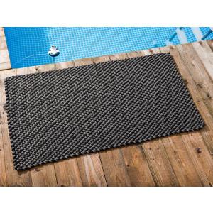Pad Outdoor Teppich POOL Stone Grau Schwarz 72x132 cm zweifarbig am Schwimmbecken oder auf der Terrasse als Fussmatte UV und Wetterbeständig Web-Look für draussen und drinnen