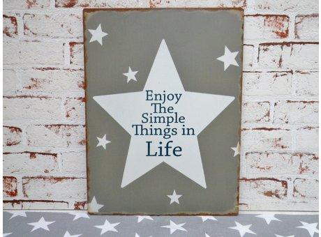 "Metallschild ""Enjoy the simple things in Life"""