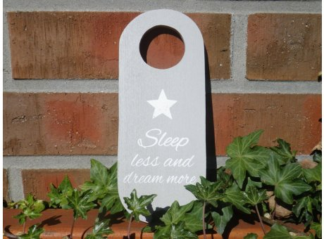 Türschild - Sleep less and dream more - mit Sternen