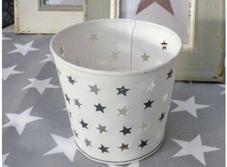 Windlicht Mary weiß mit Sternen 12,5 cm