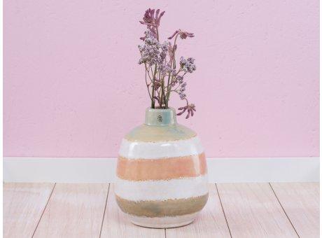 A Simple Mess Vase Cirkus grün weiß orange Keramik Blumenvase 17 cm hoch Design Louise Dorph Dänemark