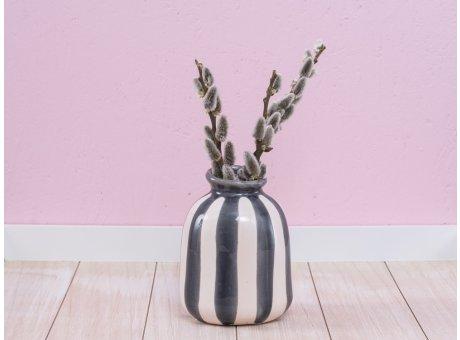 A Simple Mess Vase Lys weiß dunkelgrau Keramik Blumenvase 15 cm hoch Design Louise Dorph Dänemark