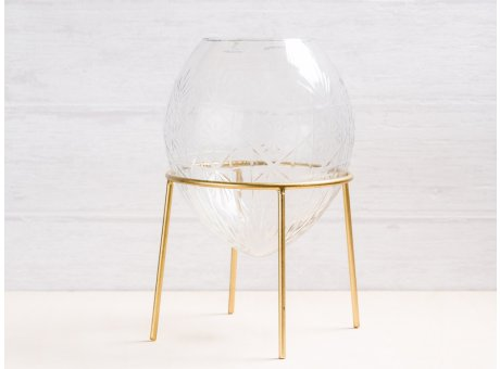 A simple Mess Vase Ronda Glas mit Ständer aus Metall gold Blumenvase 21 cm hoch Deko Design mit Gravur