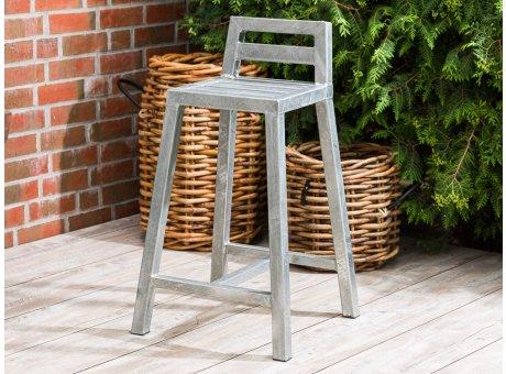 A2 Living Allwetter Barhocker Stuhl 88 cm hoch verzinkt rostfreie Gartenmöbel aus Metall Wetterfest schwere Qualität für Terrasse und Balkon