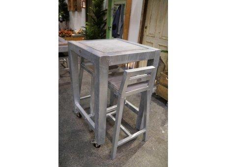 A2 Living Allwetter Bistro Tisch 1er Metall verzinkt Tischplatte Beton 67 x 67 cm rostfreie Gartenmöbel