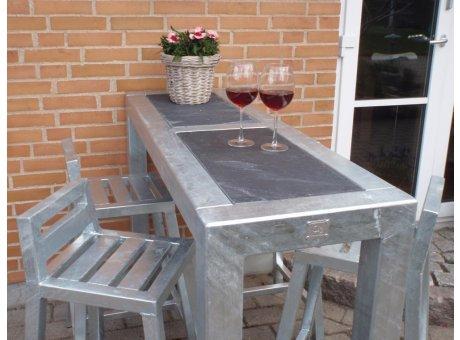 A2 Living Allwetter Bistro Tisch 2er schmal Metall verzinkt Tischplatte Beton 46 x 143 cm rostfreie Gartenmöbel