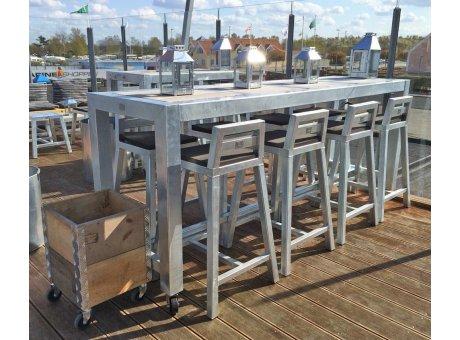 A2 Living Allwetter Bistro Tisch 4er Metall verzinkt Tischplatte Beton 67 x 238 cm rostfreie Gartenmöbel