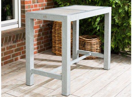 A2 Living Allwetter Bistro Tisch verzinkt 100 cm hoch rostfreie Gartenmöbel aus Metall mit Beton Platte Wetterfest schwere Qualität für Terrasse und Balkon