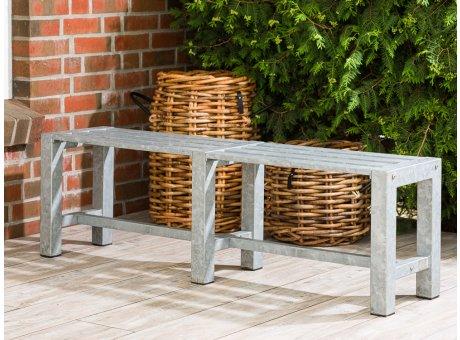 A2 Living Allwetter Gartenbank 2er Typ 4 verzinkt 146 cm Breit rostfreie Gartenmöbel aus Metall Wetterfest schwere Qualität für Terrasse und Balkon