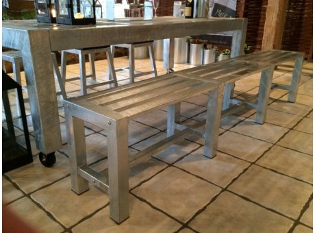 A2 Living Allwetter Gartenbank Pro 6 silber 225 cm rostfreie Gartenmöbel aus Metall verzinkt