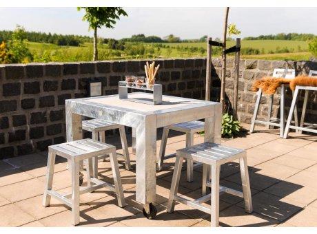 A2 Living Allwetter Gartentisch 1er Pro 10 Metall verzinkt Beton Tischplatte 101 x 83 cm
