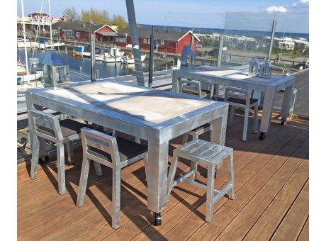 A2 Living Allwetter Gartentisch 2er Pro 10 Metall verzinkt Beton Tischplatte 101 x 155 cm