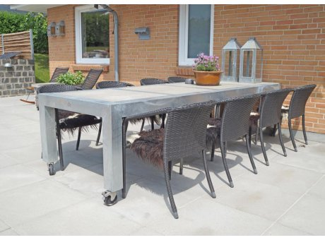A2 Living Allwetter Gartentisch 4er Pro 10 Metall verzinkt Beton Tischplatte 101 x 298 cm Extra großer Tisch