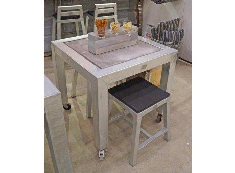 A2 Living Allwetter Gartentisch Typ 8 silber 1er Tisch verzinkt 77 cm rostfreie Gartenmöbel