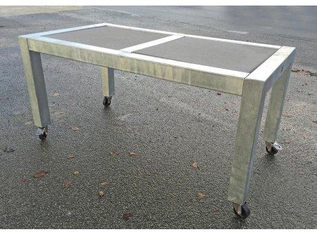 A2 Living Allwetter Gartentisch Typ 8 silber 2er Tisch verzinkt 146 cm rostfreie Gartenmöbel