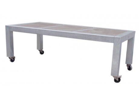 A2 Living Allwetter Gartentisch Typ 8 silber 3er Tisch verzinkt 215 cm rostfreie Gartenmöbel