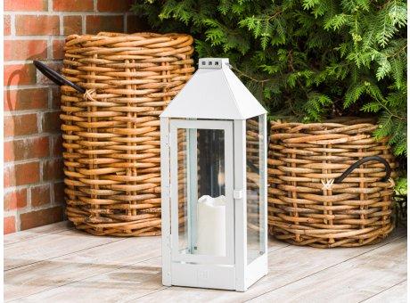 A2 Living Allwetter Laterne Maxi Weiß wetterfeste Outdoor Laterne verzinkt und pulverbeschichtet rostfrei 60 cm hoch skandinavisch schlicht Dekoration
