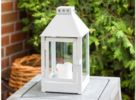 A2 Living Allwetter Laterne Mini Weiß wetterfeste Outdoor Laterne verzinkt und pulverbeschichtet rostfrei 34 cm hoch skandinavisch schlicht Dekoration