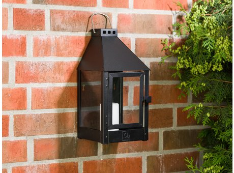A2 Living Allwetter Wandlaterne Mini Schwarz wetterfeste Outdoor Laterne verzinkt und pulverbeschichtet rostfrei 36 cm hoch skandinavisch schlicht Dekoration