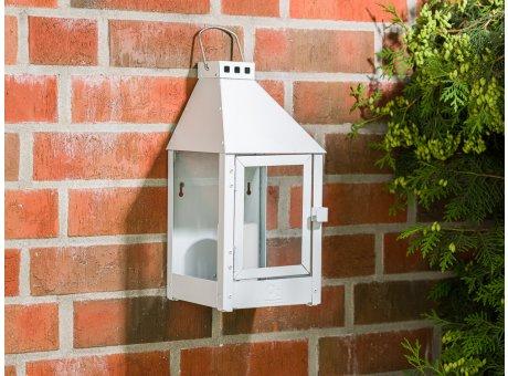 A2 Living Allwetter Wandlaterne Mini Weiß wetterfeste Outdoor Laterne verzinkt und pulverbeschichtet rostfrei 36 cm hoch skandinavisch schlicht Dekoration