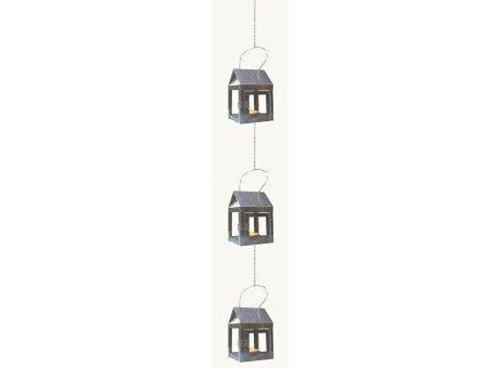 A2 Living Hängelaterne Verzinkt 3er Set Mini Laterne für Teelicht mit Kette A2 Produkt Nr 40081