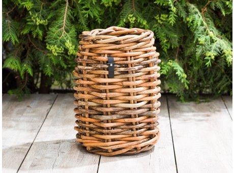 A2 Living Korb Rattan Mini 40 cm hoch als Pflanzkorb Zeitungskorb oder Aufbewahrungskorb robust und stabil Indoor und Outdoor