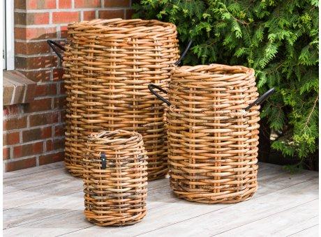 A2 Living Korb Set aus Rattan 3 Größen im Set als Pflanzkorb oder Aufbewahrungskorb robust und stabil Indoor und Outdoor
