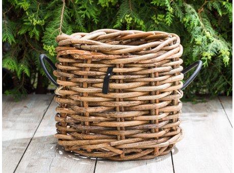 A2 Living Rattan Korb Maxi Klein Korb 39 cm hoch für Pflanzen oder Aufbewahrungskorb robust und stabil Indoor und Outdoor