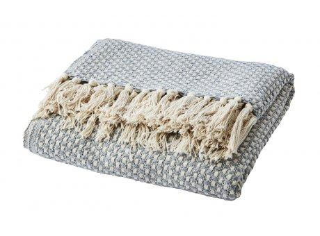 Affari Decke ANNA Hellgrau mit Fransen aus Baumwolle receycelt Wolldecke Affari Produkt Nummer 070-545-17