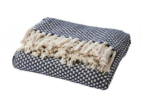 Affari Decke ANNA Navy Blau mit Fransen aus Baumwolle receycelt Wolldecke Affari Produkt Nummer 070-545-39