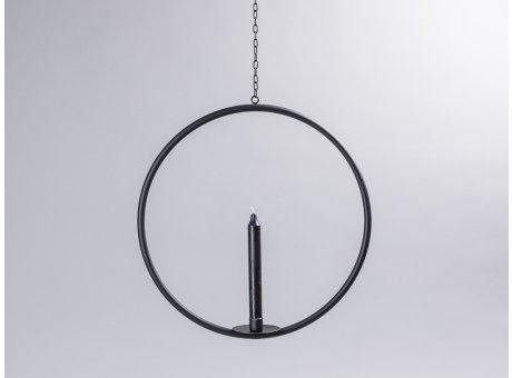 Affari of Sweden Kerzenhalter Hänger Axel klein rund aus Metall in schwarz mit Kette Durchmesser 39 cm