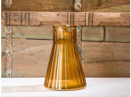 Affari of Sweden Windlicht Laterne Vase Anja orange klein konische form aus Glas 24 cm Blumenvase