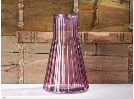 Affari of Sweden Windlicht Laterne Vase Anja rosa groß konische form aus Glas 38 cm
