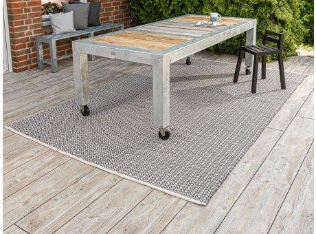 Allwetter Gartenmöbel verzinkt A2 Living Gartentisch Bank und Stuhl mit Lehne schwarz mit Pad Outdoor Teppich Akzent