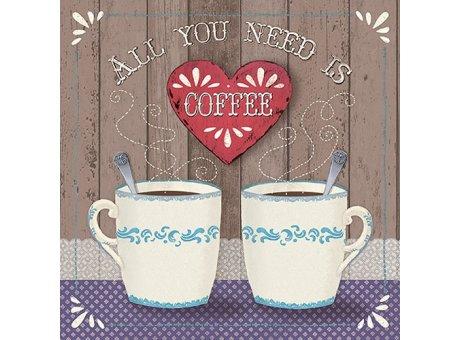 Ambiente Servietten All you need is coffee zwei Kaffeebecher weiß mit Muster blau Papierservietten 33 x 33 cm
